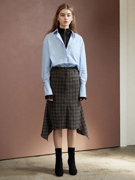 FACTORIAL LABEL国际品牌2020春夏美人鱼尾裙摆格纹羊毛开叉过膝半身裙_棕色
