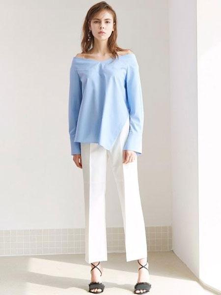 FACTORIAL LABEL国际品牌2020春夏扣环式腰带低腰直筒长裤_白色