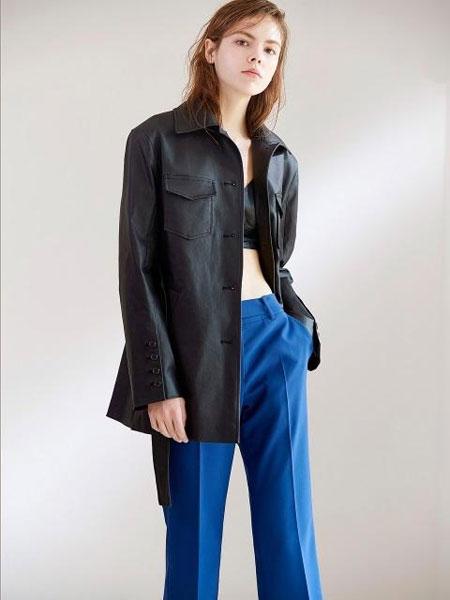 FACTORIAL LABEL国际品牌2020春夏扣环式腰带低腰直筒长裤_蓝色