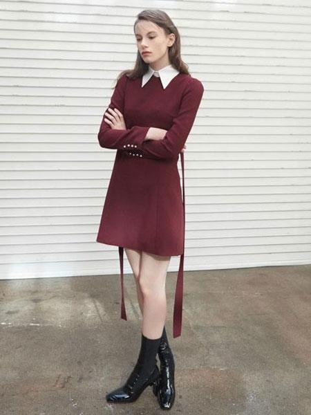 FACTORIAL LABEL国际品牌2020春夏经典假两件可摘领腰带连衣裙_红色