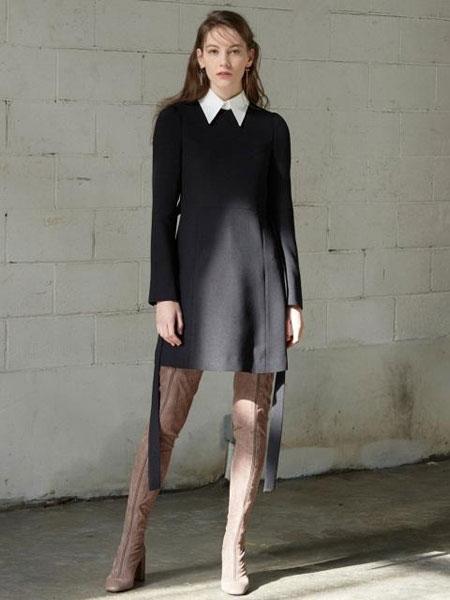 FACTORIAL LABEL国际品牌2020春夏经典假两件可摘领腰带连衣裙_黑色