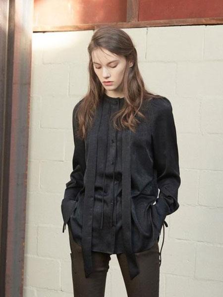 FACTORIAL LABEL国际品牌品牌2020春夏经典修身颈带喇叭袖女士衬衫_黑色