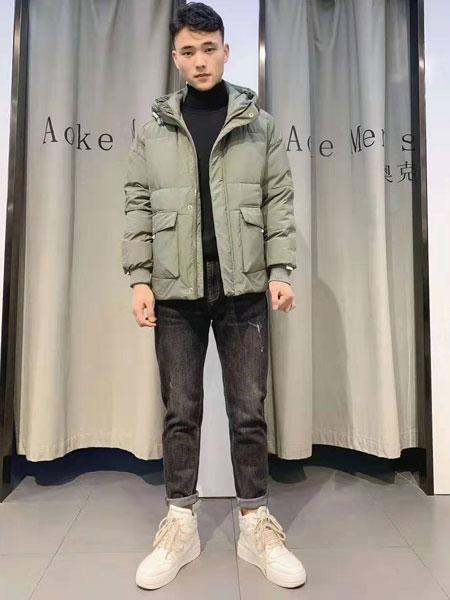 奥克男装品牌2019秋冬新款纯色羽绒夹克