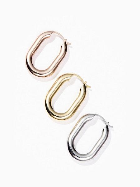 ALAINN国际品牌品牌2020春夏开口椭圆环拼接设计女士耳环_