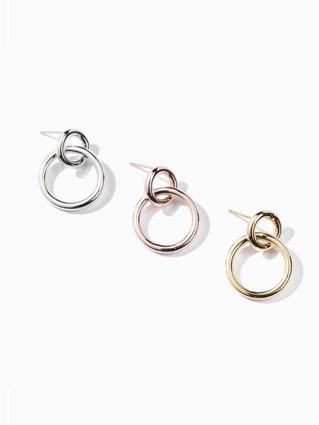 ALAINN国际品牌品牌2020春夏简约椭圆圆环耳环(S)_白色/粉金色/金色