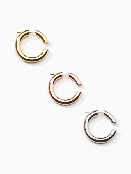 ALAINN国际品牌品牌2020春夏迷你开口圆环搭配珍珠女士耳环_白色/粉色/金色