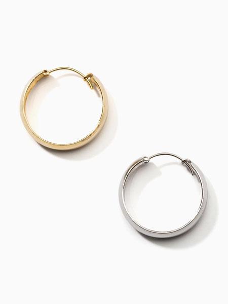 ALAINN国际品牌品牌2020春夏925纯银简约搭扣宽圆环耳环_白色/金色