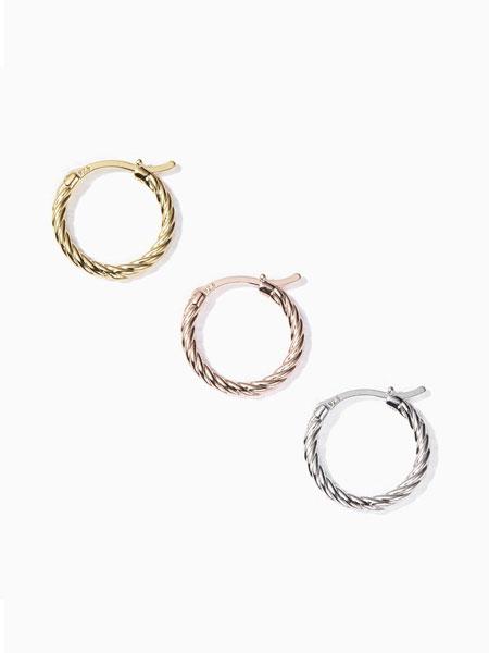 ALAINN国际品牌品牌2020春夏复古麻绳纹搭扣圆环耳环_白色/金色
