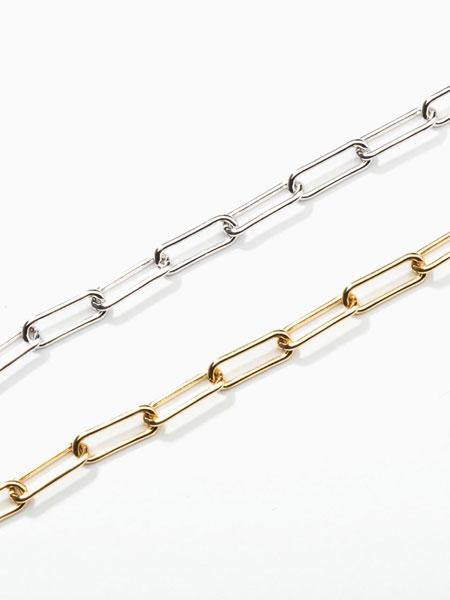 ALAINN国际品牌品牌2020春夏椭圆环拼接链条造型纯银女士项链_白色