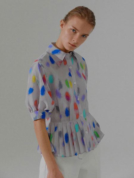 EENK国际品牌品牌2020春夏经典印染百褶装饰女士真丝短袖衬衫_灰色撞色