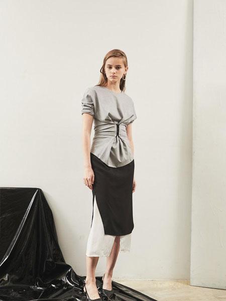 EKHON国际品牌品牌2020春夏修身直筒松紧腰开叉设计双层拼接半身裙_