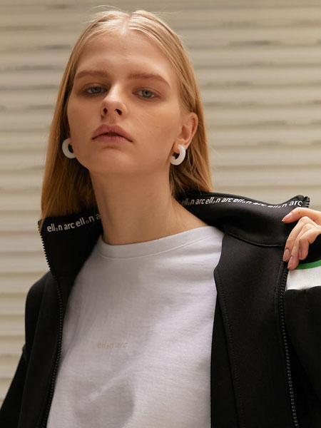 ELLONARC国际品牌品牌2020春夏经典拼色松紧边女士拉链运动上衣_黑色