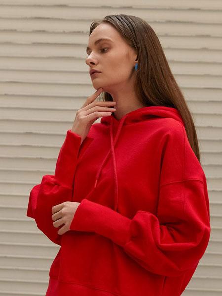 ELLONARC国际品牌品牌2020春夏宽松落肩女士短款连帽卫衣_