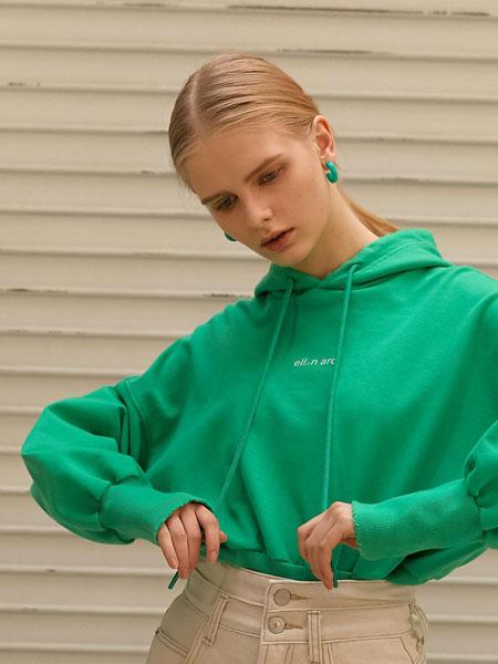 ELLONARC国际品牌品牌2020春夏宽松落肩女士短款连帽卫衣_绿色