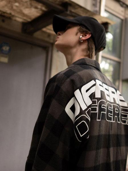 EVANLAFORET国际品牌品牌2019秋冬宽松格纹DIFFERENT字母印染男女同款连帽衬衫_灰色