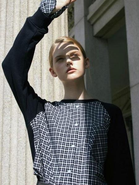 HAEKIM国际品牌品牌2020春夏经典拼接格纹衬衫装饰女士圆领卫衣_藏青色