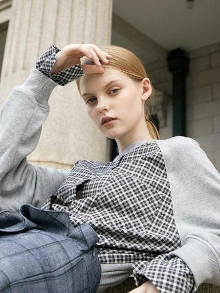 HAEKIM国际品牌品牌2020春夏经典拼接格纹衬衫装饰女士圆领卫衣_灰色