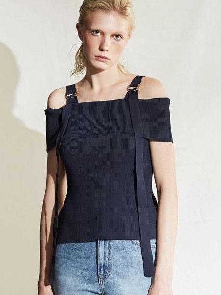 HAEKIM国际品牌品牌2020春夏金属扣环宽肩带露肩短袖针织衫_藏青色