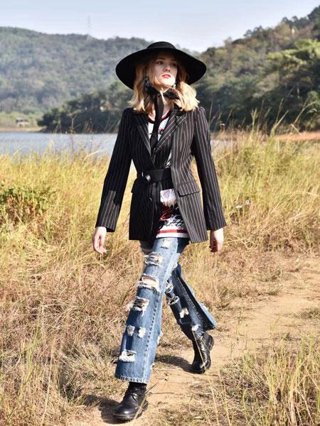 AttinaLife阿缇娜女装品牌2020春夏新款条纹长袖钮扣外套