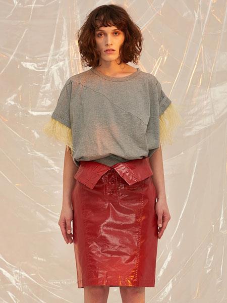 FRONTROW国际品牌品牌2020春夏新款灰色短袖上衣