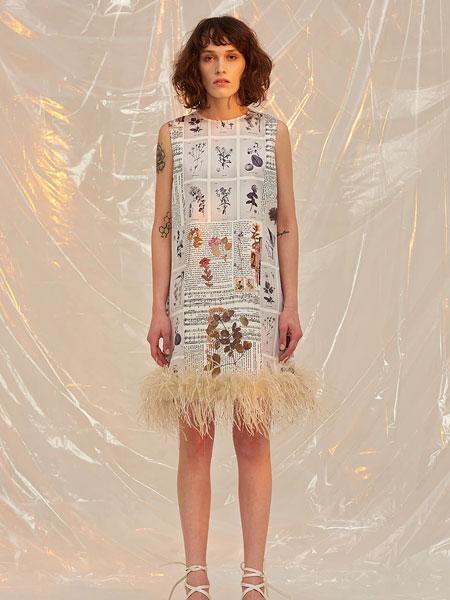FRONTROW国际品牌品牌2020春夏新款印字连衣裙