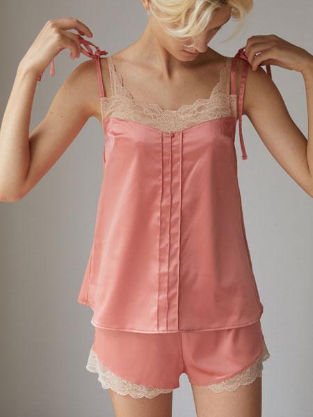GIANNA国际品牌品牌2020春夏新款粉色蕾丝吊带家居服