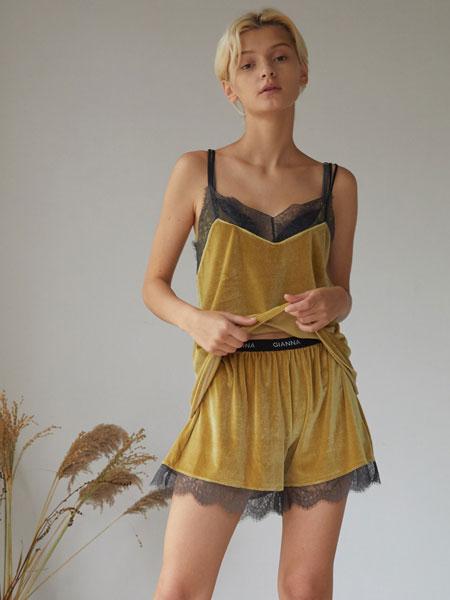 GIANNA国际品牌品牌2020春夏新款纯色吊带家居服