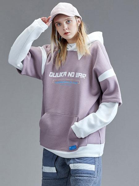 Guuka国际品牌品牌2019秋冬街头嘻哈运动粉色拼接假两件抓绒卫衣