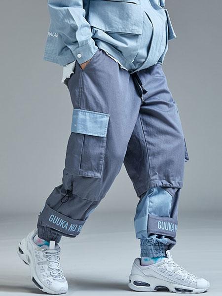 Guuka国际品牌品牌2019秋冬街头风假两件拼接大口袋束脚工装裤