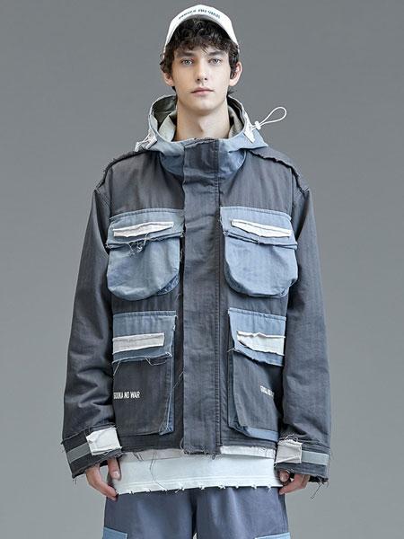 Guuka国际品牌品牌2019秋冬街头工装风撞色多口袋拼接夹克风衣外套