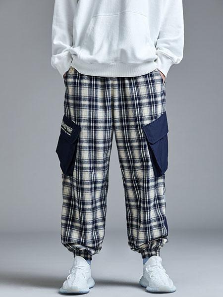 Guuka国际品牌品牌2019秋冬日系格子裤男直筒抽绳收口工装裤