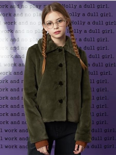 HOLLY LOVES LOVE国际品牌品牌时尚短款毛绒外套