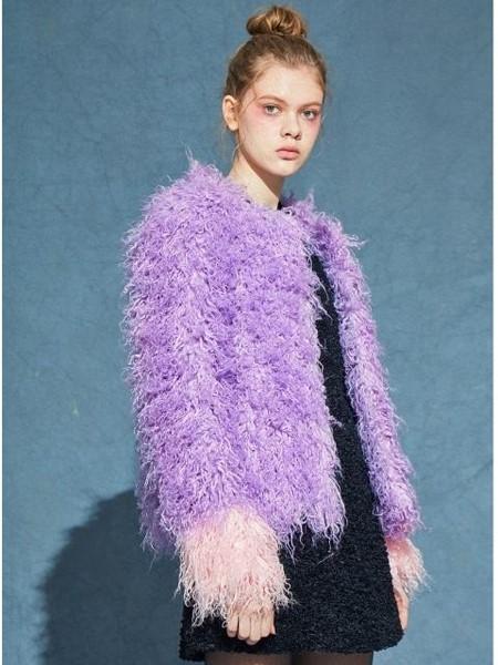 JINJIN ISLAND国际品牌品牌经典袖口拼色女士圆领短款毛绒大衣