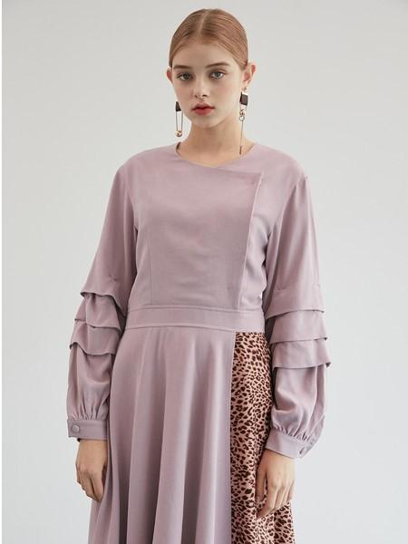 JULIY&CALLA国际品牌经典不对称拼接拼色分层袖圆领衬衫连衣裙_紫色