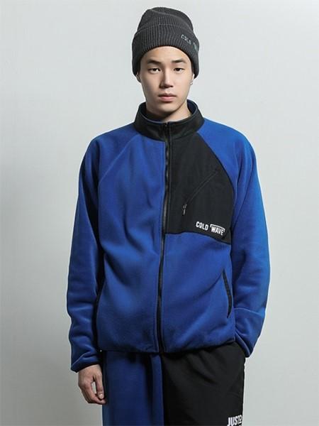 JUSTO国际品牌品牌宽松拉链高领撞色拼接插肩袖摇粒绒男女同款休闲夹克_蓝色