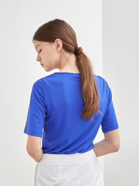 KLEAN国际品牌品牌2020春夏纯色圆领修身短袖T恤_蓝色