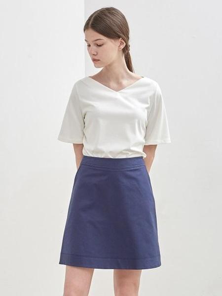 KLEAN国际品牌品牌2020春夏纯色基本款A字半身短群_藏青色