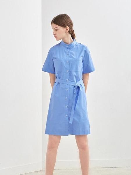 KLEAN国际品牌品牌2020春夏纯色开襟系带短袖衬衫连衣裙_蓝色