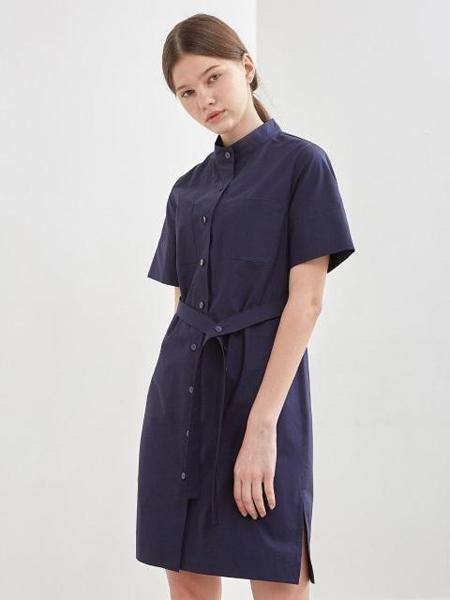 KLEAN国际品牌品牌2020春夏纯色开襟系带短袖衬衫连衣裙_藏青色