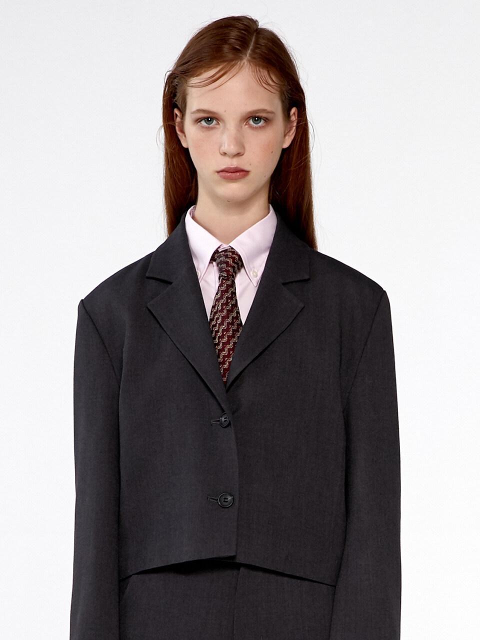 KIRSH国际品牌品牌2020春夏短款翻领单排扣女士休闲西装_炭灰色