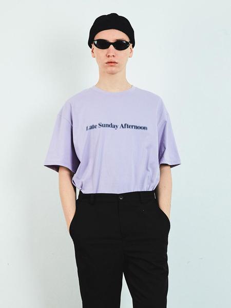 LAYER UNION国际品牌品牌2020春夏宽松模糊LSA字母印染男士短袖T恤_淡紫色