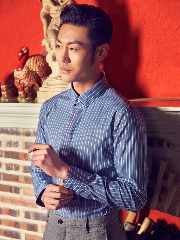BILANG比朗服装定制品牌2019秋冬新款纯色条纹衬衫