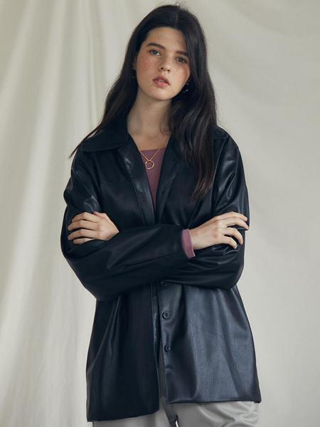 LARTIGENT国际品牌品牌2020春夏简约迷你女士皮革夹克_白色