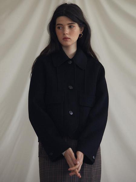 LARTIGENT国际品牌品牌2020春夏经典单排扣女士手工毛呢夹克_黑色