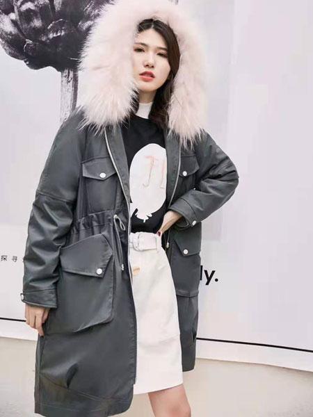VETERLILY碧成萱女装品牌2019秋冬新款大毛领长款羽绒服