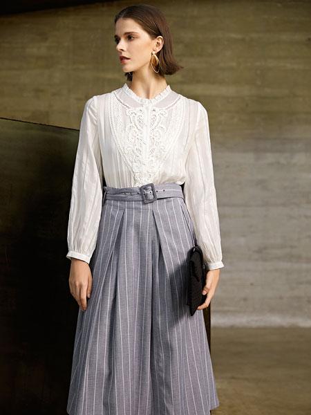 意澳女装品牌2020春夏新款条纹长裙