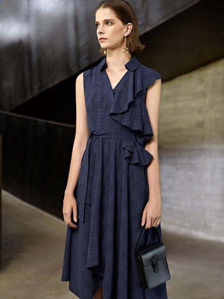意澳女装品牌2020春夏新款不规则无袖连衣裙