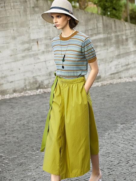 意澳女装品牌2020春夏新款纯色阔脚裤