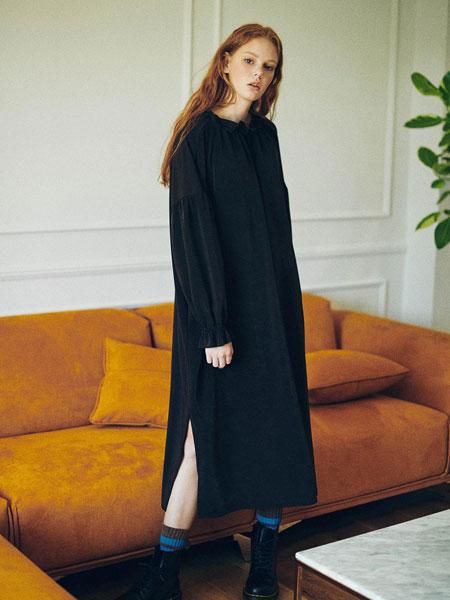 HIDDEN FOREST MARKET国际品牌2020春夏优雅不对称侧拉链及膝A字裙_橄榄绿/藏青色