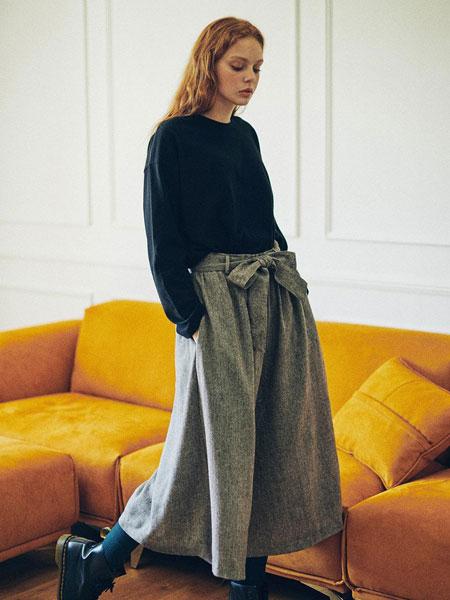 HIDDEN FOREST MARKET国际品牌2020春夏腰部缝褶绑带腰带女士九分阔腿裙裤_深棕色/深灰色